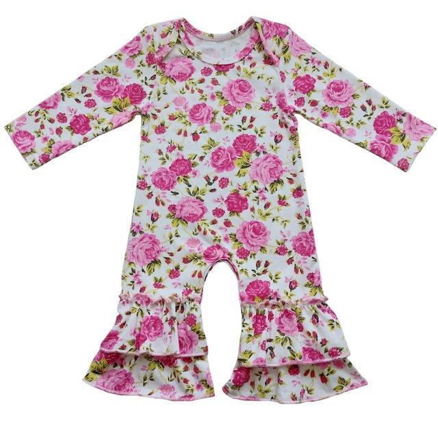 Greer Floral Ruffle Romper Pink / 24M Mollycoddle Me Baby Girl Rompers mollycoddle-me.myshopify.com Mollycoddle Me