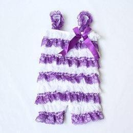 Celia Lace Ruffle Summer Rompers Purple / 24M Mollycoddle Me Baby Girl Rompers mollycoddle-me.myshopify.com Mollycoddle Me