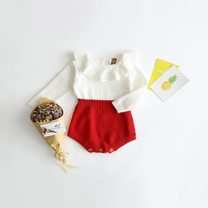 Dual tone Baby Girl Knitted Romper Red / 24M Mollycoddle Me Baby Girl Rompers mollycoddle-me.myshopify.com Mollycoddle Me