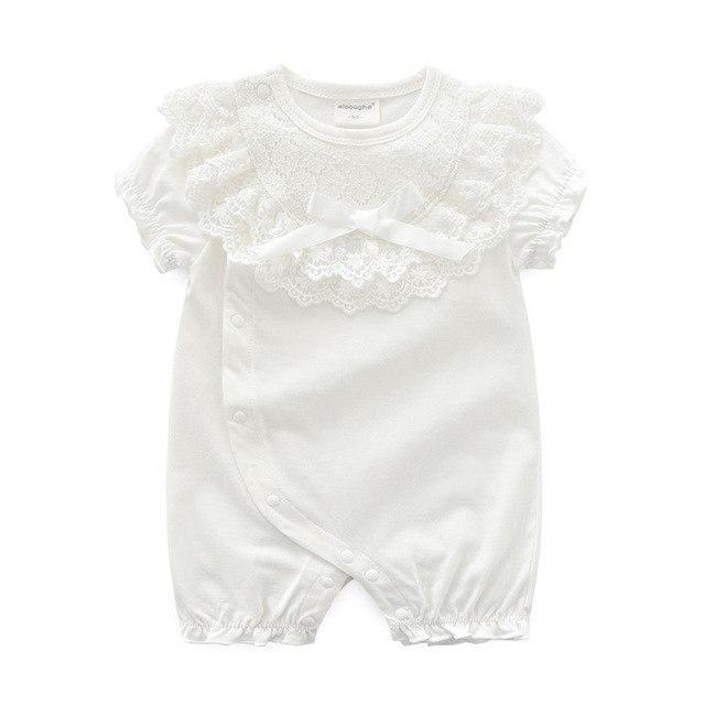 Imogen Lace BowKnot Rompers White / 12M Mollycoddle Me Baby Girl Rompers mollycoddle-me.myshopify.com Mollycoddle Me