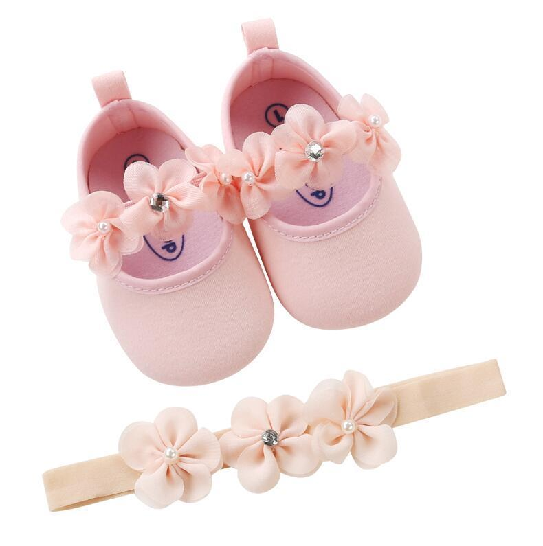 Flower Headband + Baby Girl Shoes pink / 12M Mollycoddle Me Baby Girl Shoes mollycoddle-me.myshopify.com Mollycoddle Me