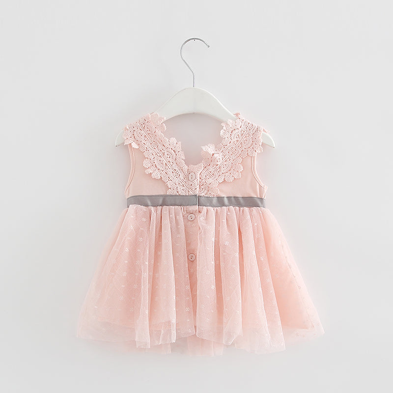 Sophie V-neck bow lace dress