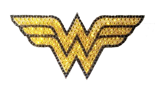 Crystal Studded DC Comics Wonder Woman Yellow & Black Logo Decal - MEDIUM