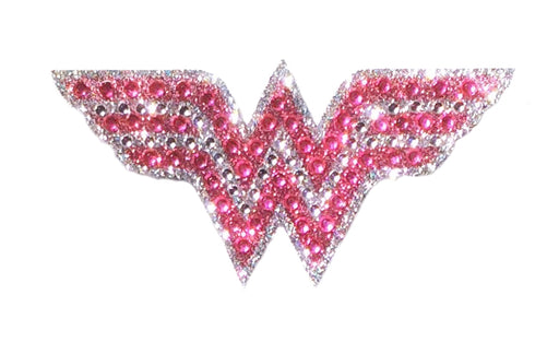 Crystal Studded DC Comics Wonder Woman Pink Logo Decal - SMALL