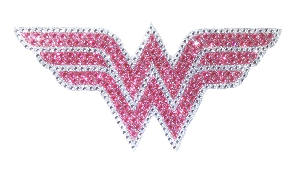 Crystal Studded DC Comics Wonder Woman Pink Logo Decal - LARGE