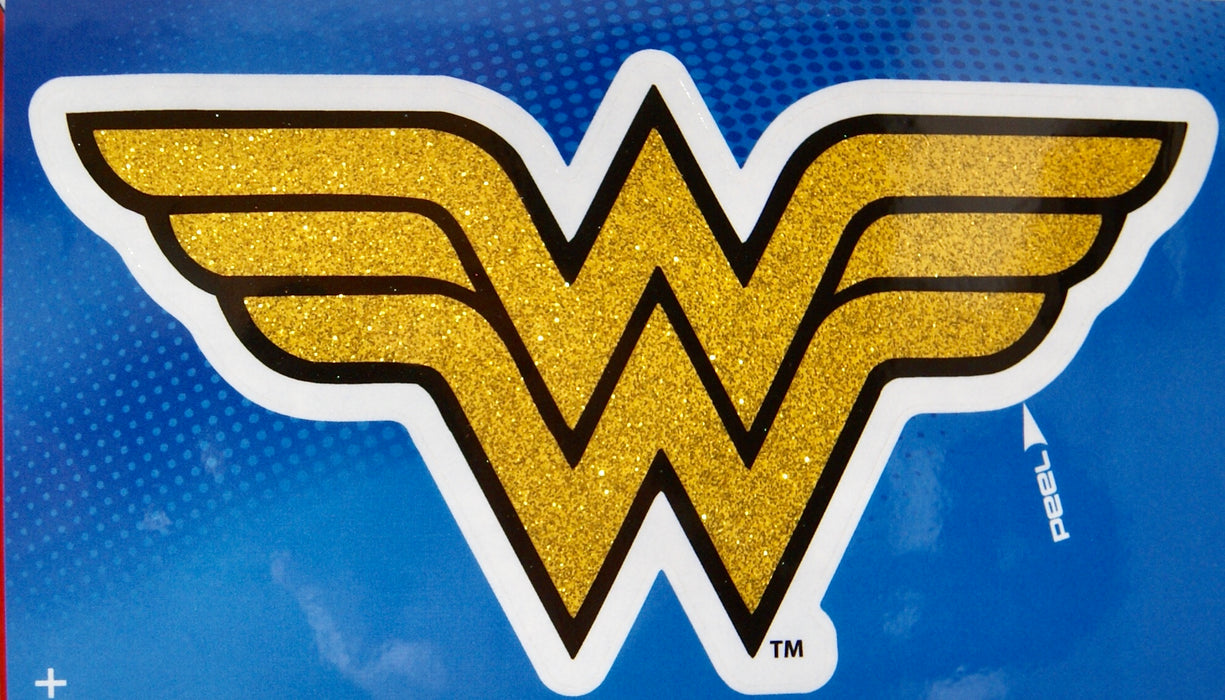 DC Justice League Wonder Woman Gold 4x8 Glitter Decal