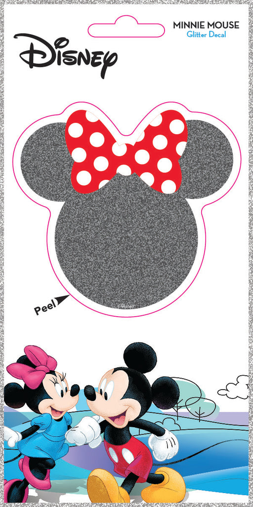 Minnie Head Silhouette 4x8 Glitter Decal