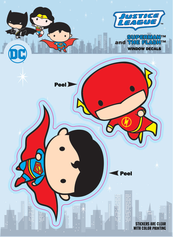 DC Comics Chibi Justice League Superman & The Flash Duo Car Window Decal