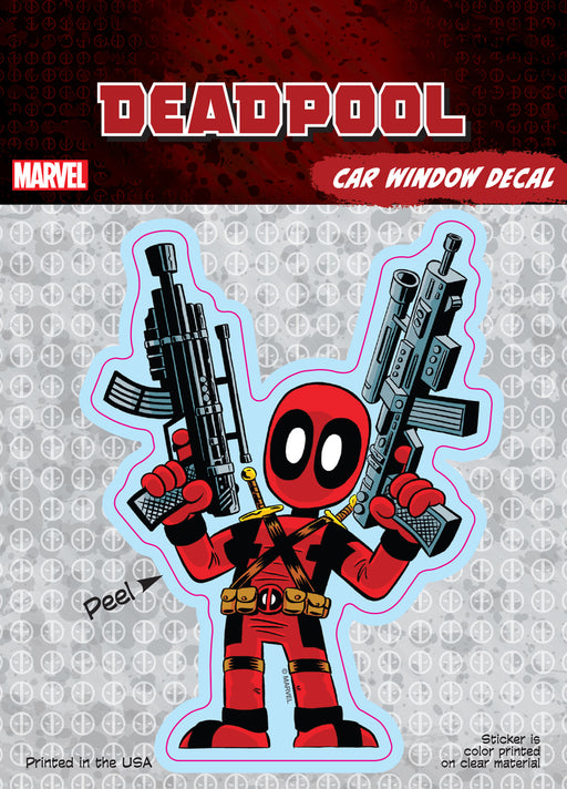 Deadpool Cartoon Guns Car Window Decal 6x8
