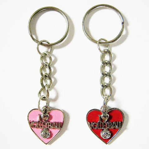 I Love Volleyball Keychain w/ Colored Heart
