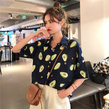 Load image into Gallery viewer, 2019 Summer Short Sleeve Turn Down Collar Women Shirt Korean Fruit Print Shirts Women Blouses Couple Casual Loose Blouse Blusas