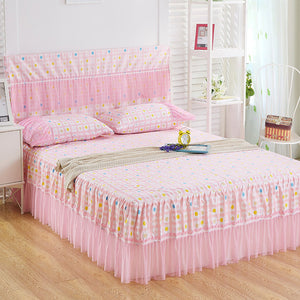 Romantic Lace Bed Skirt Sanding Soft Bedspreads Fashional Fitted Sheet Twin Queen Bedspread for Girl Room Home Decoration
