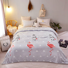 Load image into Gallery viewer, LREA плед flamingos blue fleece throw bed cover blanket warm for sofa big size bedspread home textile