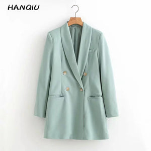 2019 Autumn blue double breasted blazer women blazers and jackets women coat long sleeve office blazer feminino outerwear korean