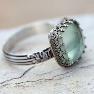 Women Jewelry Silver Gemstone Vintage Peridot Moonstone Personalized Wedding Party Ring Sz 6-10 Female Gift