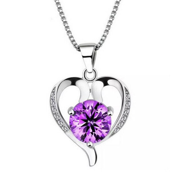 Cellacity Heart shaped Pendant Necklace for Women Silver Jewelry 925 Gemstones Amethyst Clavicle Chain Female Gift Wholesale