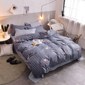 Gray 4pcs Girl Boy Kid Bed Cover Set Cartoon Duvet Cover Adult Child Bed Sheets And Pillowcases Comforter Bedding Set 2TJ-61005