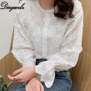Dingaozlz solid color embroidery lace tops elegant female long sleeve lace blouse korean women clothing casual shirt