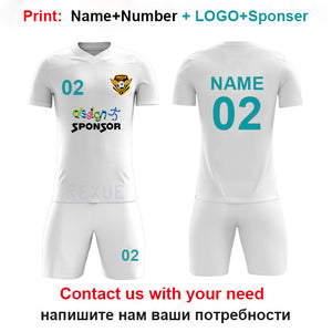 Boys Football Uniform Kids Personalized Football Jersey Soccer Jerseys Set Custom Soccer Uniform Survetement NEW Sport suit set