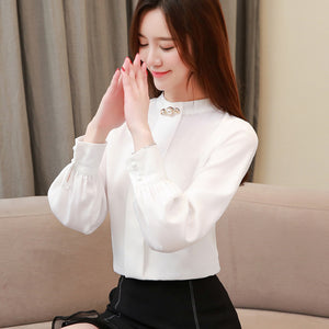 Autumn 2019 Women White Chiffon Blouse Casual Korean Slim Shirt Long Sleeve Shirt Fashion Women Streetwear Elegant Ladies Tops