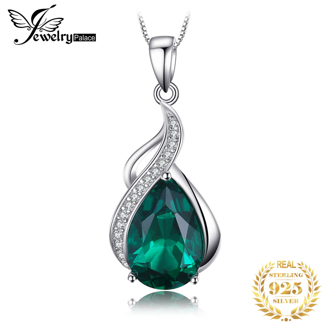 Jpalace Simulated Nano Emerald Pendant Necklace 925 Sterling Silver Gemstones Choker Statement Necklace Women Without Chain