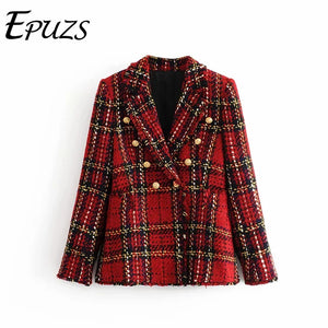 Vintage red plaid tweed blazer women winter caot casual long sleeve office suit jacket korean women blazers and jackets