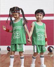 Load image into Gallery viewer, Kid LSPORT 23# Basketball Set,Girls Basketball jersey uniform,Breathable Child Sport shirts shorts,BasketBall Team train Clothes