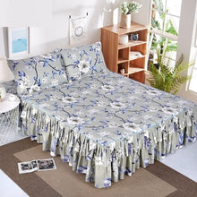 Load image into Gallery viewer, 1pc Bed Skirt + 2pcs Pillowcase Bedding Set Sanding Soft Bedspread King Queen Size Double Layer Bed Skirt
