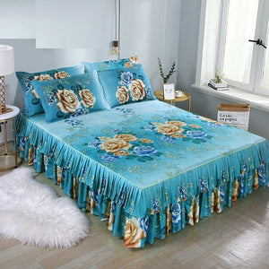 1pc Bed Skirt + 2pcs Pillowcase Bedding Set Sanding Soft Bedspread King Queen Size Double Layer Bed Skirt