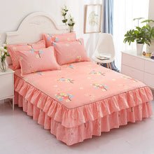 Load image into Gallery viewer, 3pcs set Bedding Bed Skirt +2pc Free Pillowcases Wedding Bedspread Bed Sheet Mattress Cover Full Twin Queen King Size Bedsheets