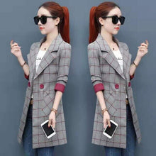 Load image into Gallery viewer, Long Blazer Women Plaid Plus Size Double Breasted Pockets Womens Blazers Novelty Office Ladies Harajuku Korean Fashion Clothing