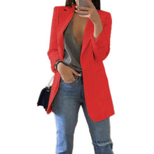 Load image into Gallery viewer, Slim Women Blazers Autumn Fashion Jacket Female Work Office Solid Pocket Business Notched Blazer Feminino Coat Plus Size S-5xl