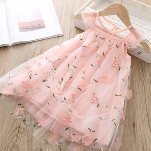 Red Kids Dresses For Girls Flower Lace Tulle Dress Wedding Little Girl Ceremony Party Birthday Dress Children Autumn Clothing