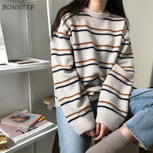 Load image into Gallery viewer, Pullovers Women Soft Autumn O-Neck Sweaters Chic Daily Tops Womens Pullover Sweet Student Striped Harajuku Knitted Loose Outwear