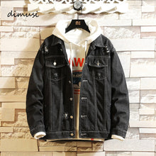 Load image into Gallery viewer, DIMUSI Mens Denim Jacket Spring Autumn Mens Trendy Fashion Bomber Coats Thin Ripped Denim Jacket Male Cowboy Jeans jackets,YA858