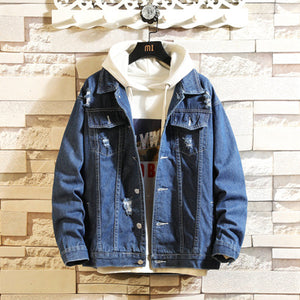 DIMUSI Mens Denim Jacket Spring Autumn Mens Trendy Fashion Bomber Coats Thin Ripped Denim Jacket Male Cowboy Jeans jackets,YA858