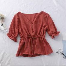 Load image into Gallery viewer, Chic Women Chiffon Shirt Kawaii Polka Dot Butterfly Sleeve Summer Shirt 2019 Korean Casual V-Neck Ladies Button Lace Up Shirt