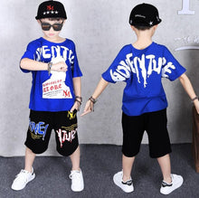 Load image into Gallery viewer, 2 Pieces Suit Kids Teenage Boys Clothing Sets Hip-hop Dancing Sports Tracksuits Cotton T-shirt + Shorts Boys Summer Outfits