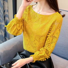 Load image into Gallery viewer, Shirts Women Tops White Lace Blouse 2020 New Korean Flower Print Hollow out Long Sleeve Round Neck Embroidered Shirt blusas 80A