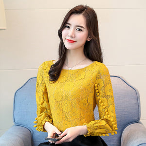 Shirts Women Tops White Lace Blouse 2020 New Korean Flower Print Hollow out Long Sleeve Round Neck Embroidered Shirt blusas 80A