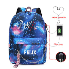 Load image into Gallery viewer, Kpop Stray Kids starry sky lightning pattern backpack USB charging large capacity Fashion kpop stray kids school travel bag