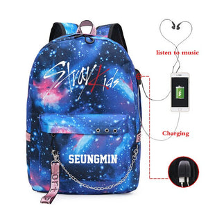 Kpop Stray Kids starry sky lightning pattern backpack USB charging large capacity Fashion kpop stray kids school travel bag