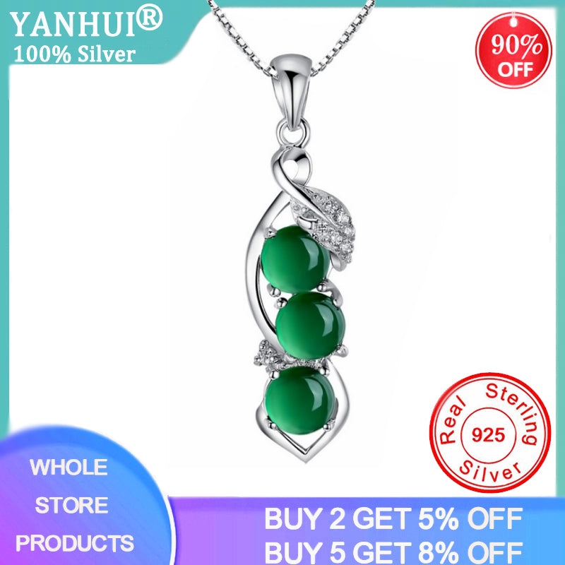 YANHUI Silver 925 Jewelry Emerald Necklaces For Women Gemstone Pendant Luxury Women Necklace 925 Sterling Silver Wedding Jewelry