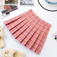 Load image into Gallery viewer, Plus Size Harajuku Short Skirt New Korean Plaid Skirt Women Zipper High Waist School Girl Pleated Plaid Skirt Sexy Mini Skirt