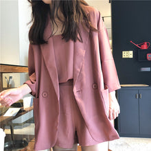 Load image into Gallery viewer, Blazers Women Loose Simple All-match Thin Three Quarter Sleeve Solid Kawaii Korean Style Blazer Womens Elegant Ladies Coats Chic