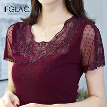 Load image into Gallery viewer, 2020 Korean version of summer T-shirt fashion diamond lace tops short sleeve gauze female T-shirt Plus size hollow out lace tops