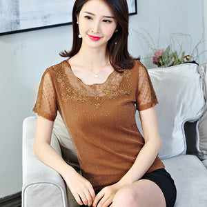 2020 Korean version of summer T-shirt fashion diamond lace tops short sleeve gauze female T-shirt Plus size hollow out lace tops
