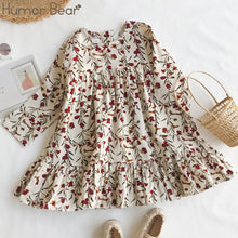 Load image into Gallery viewer, Humor Bear Children Clothing Dress New Lovely  Princess Dress Children Clothes Printing Flowers Kids Dresses Girls Dress