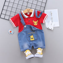 Load image into Gallery viewer, Kids Clothes Set Pikachu Baby Boys Clothing Pokemon Short Sleeve T-Shirt Jeans Overalls 2PCS Cartoon Pikaqiu Sport Suit Outfits