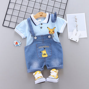 Kids Clothes Set Pikachu Baby Boys Clothing Pokemon Short Sleeve T-Shirt Jeans Overalls 2PCS Cartoon Pikaqiu Sport Suit Outfits